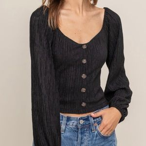 Lush Ribbed button down crop